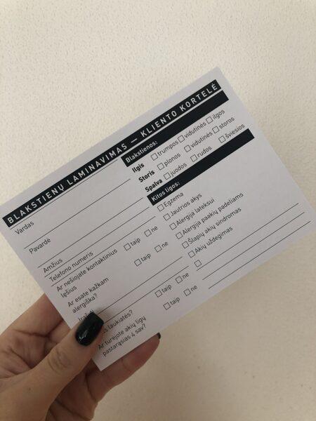 Kliento kortelės - blakstienų laminavimui (50 vnt.)